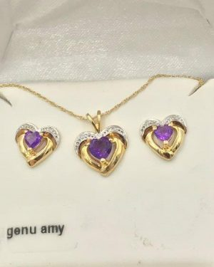 BAITH 10K Yellow Gold Amethyst Diamond Heart Stud Earrings Necklace Set