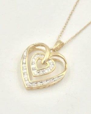 10K Yellow Gold Mom Double Heart Diamond Necklace 18″