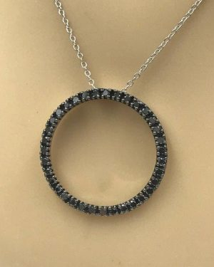 Black Diamond Circle Pendant Sterling Silver Necklace