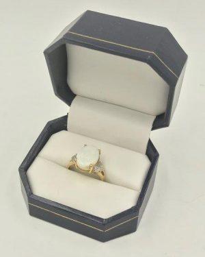 14K Yellow Gold Opal Diamond Ring Size 7
