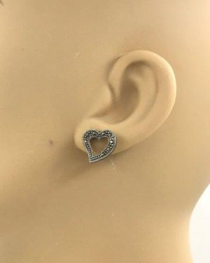 Beautiful Marcasite Sterling Silver Heart Post Earrings Signed 925 CFJ