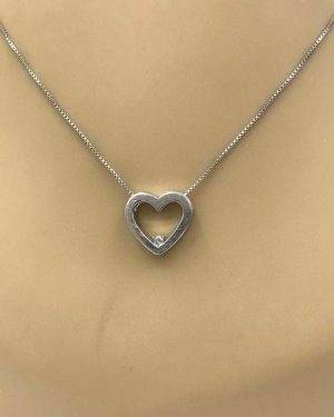 Sterling Silver Diamond Heart Pendant Necklace 18″