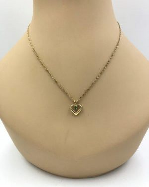 14K Yellow Gold Open Heart Green Stone Emerald Pendant Necklace 18″