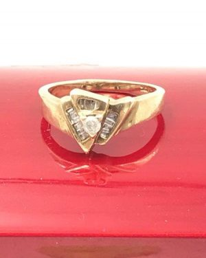 Unique Vintage Baguette Round Diamond Ring 10K Yellow Gold Ring Size 6.75 Signed 10K CI