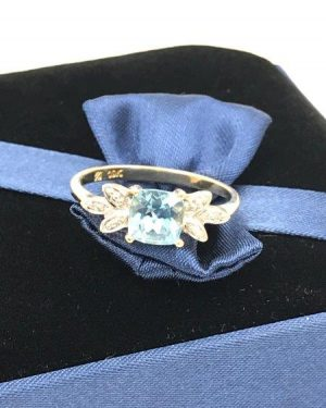 Blue Topaz Diamond Accent Ring 10K Yellow Gold Size 6