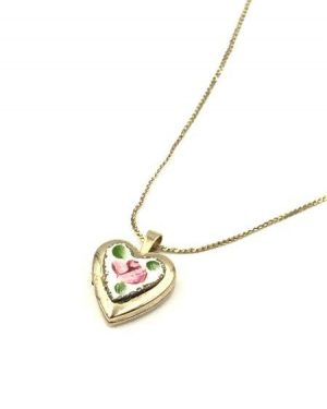 Yellow Gold Filled Heart Locket Pendant 1/20th 14K Necklace