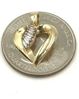 Vintage 10k Yellow Gold Diamond Baguettes Ribbon Open Heart Pendant