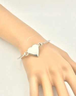 Vintage Sterling Silver Heart Bangle Bracelet Signed 925