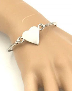 Vintage Sterling Silver Heart Bangle Bracelet Signed 925
