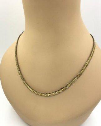 Vintage Milor Sterling Silver Vermeil Flat Chain Necklace 20
