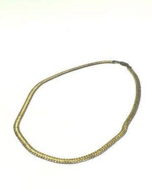Vintage Milor Sterling Silver Vermeil Flat Chain Necklace 20″