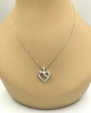 Diamond Heart Ribbon Pendant Sterling Silver Necklace 18″