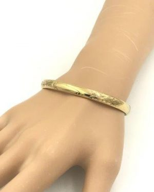 Gold Filled 12K Vintage Bracelet Slide Hinge Bangle Etched Design A & Z GF 1-20 – 12K