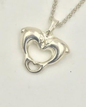 Dolphin Double Heart Pendant Necklace Sterling Silver 18″