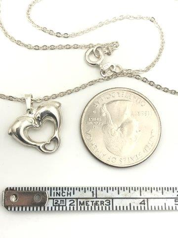 Dolphin Double Heart Pendant Necklace Sterling Silver 18""