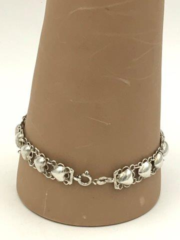 Small Heart Double Chain Bracelet Vintage Sterling Silver Jewelry 925 SU