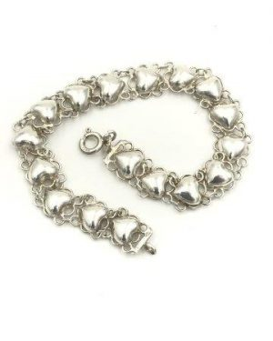 Small Heart Double Chain Bracelet Vintage Sterling Silver Jewelry 925 SU
