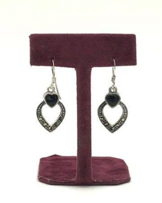 Vintage Black Onyx Marcasite Sterling Silver Earrings