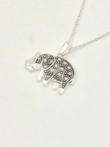 "Marcasite ELEPHANT Pendant Necklace Sterling Silver 18"" Chain"