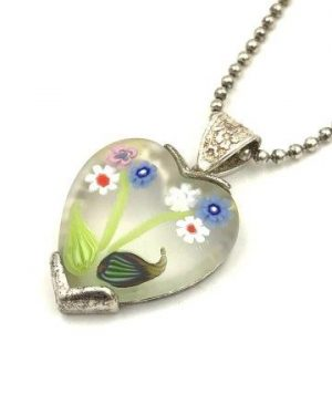 Vintage Goldeneye Flower Enamel Heart Pendant Sterling Silver Necklace PRex Bead Ball Chain 24″