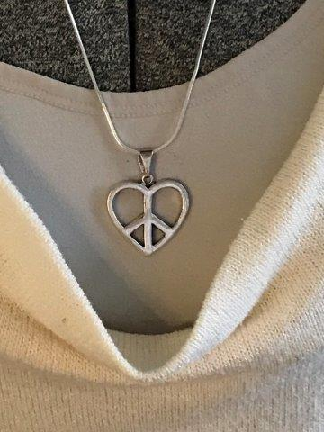 """Large Mexico Peace Heart Pendant Necklace 22"""" 925 MD28V Mex"""