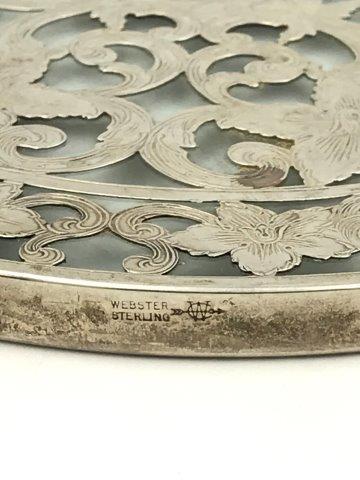 """Vintage Webster Sterling Silver 6"""" Hot Plate Holder Trivet Teapot Stand Silver Overlay 1940's"""