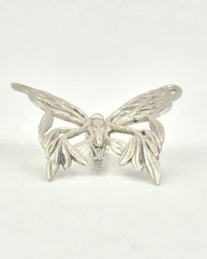 JOHN HARDY Signed Silver Butterfly Brooch Hair Scarf Leaf Vine Clips