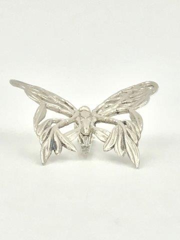 JOHN HARDY Signed Silver Butterfly Brooch Hair Scarf Leaf Vine Clips