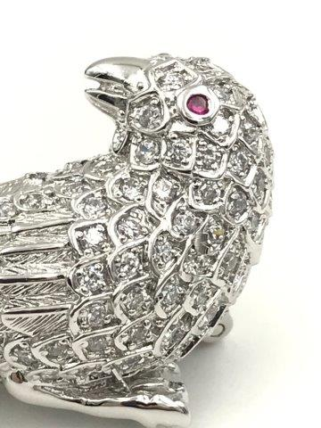 Erwin Pearl Sterling Silver Ruby Bird Brooch Pin 925