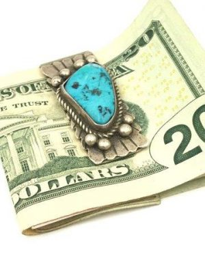 Vintage Turquoise Native American Sterling Money Clip