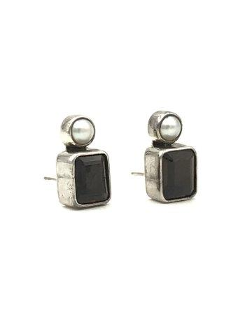 Vintage Signed The Dream Sterling Silver Smokey Quartz Pearl Post Earrings
