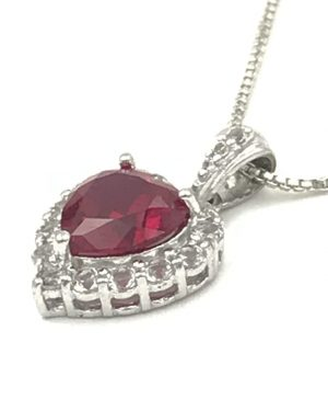 Red Ruby and White Spinel Heart Pendant Sterling Silver Necklace 16″ Signed PAJ 925 China