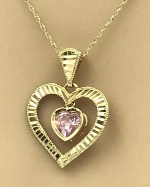 10k Yellow Gold Pink Stone Double Heart Pendant Necklace 18″