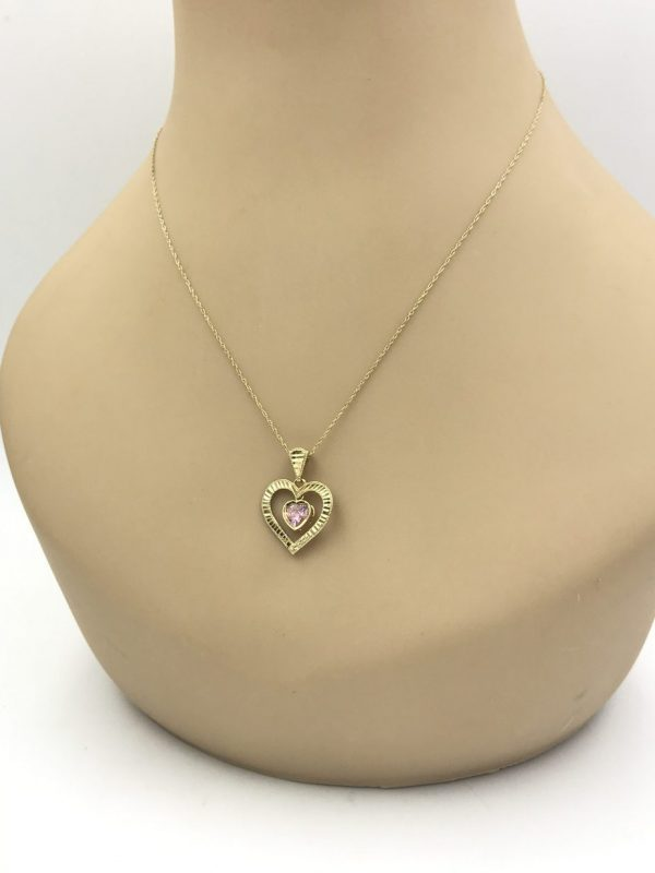 10k Yellow Gold Pink Stone Double Heart Pendant Necklace