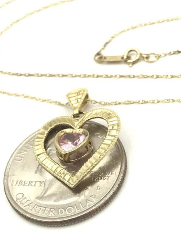 10k Yellow Gold Pink Stone Double Heart Pendant Necklace for sale