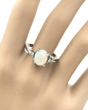Opal Sterling Silver Ring Size 10