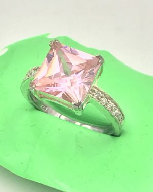 Pink Stone Ring Sterling Silver Size 6.5