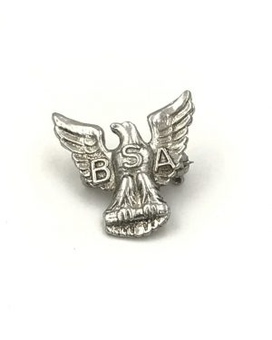 Vintage BSA Boy Scouts of America Sterling Silver Eagle Scout Lapel Pin Brooch