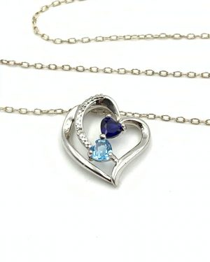 Couples Birthstone Gemstone Double Loop Heart Diamond Necklace Sterling Silver 21″