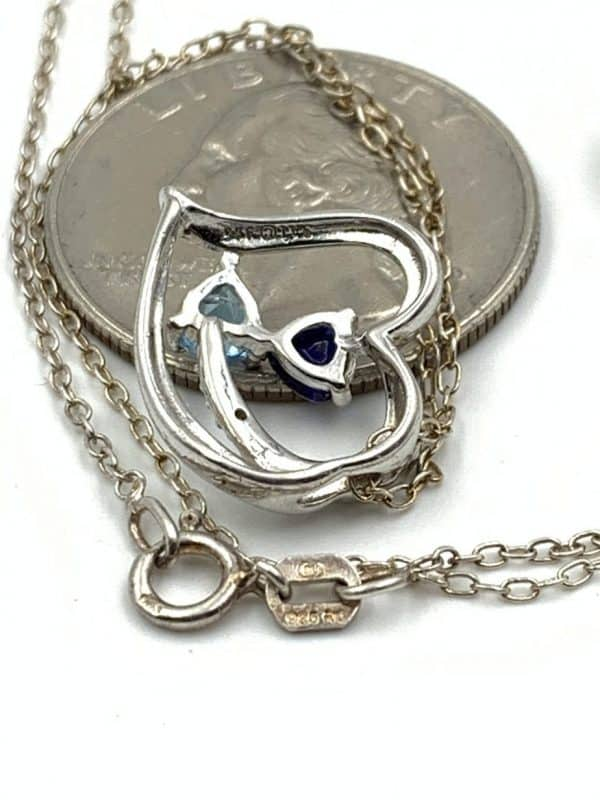 """Couples Birthstone Gemstone Double Loop Heart Diamond Necklace Sterling Silver 21"""""""