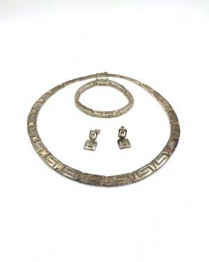 Vintage Sterling Silver Geometric Maze Necklace Bracelet Earrings
