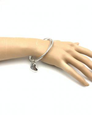 Sterling Silver Triple 3 Bangle Bracelet Heart Charm