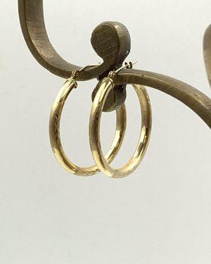 Hoop Earrings 14K Yellow Gold Textured Design Hinge Back