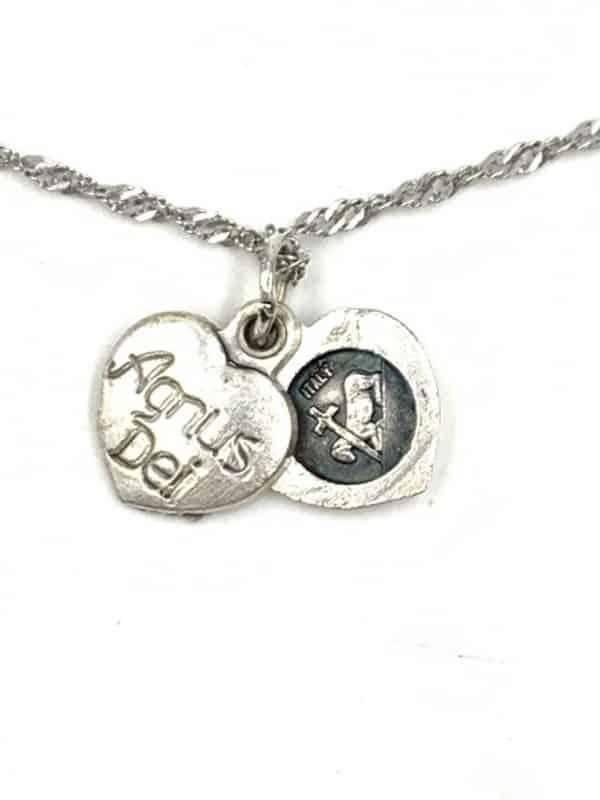 Agnus Dei Lamb of God Sliding Heart Medal Pendant Charm Necklace