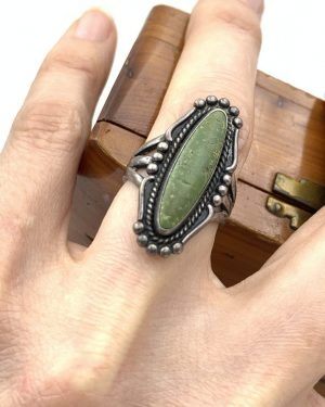 Vintage Green Turquoise Ring Sterling Silver Size 7