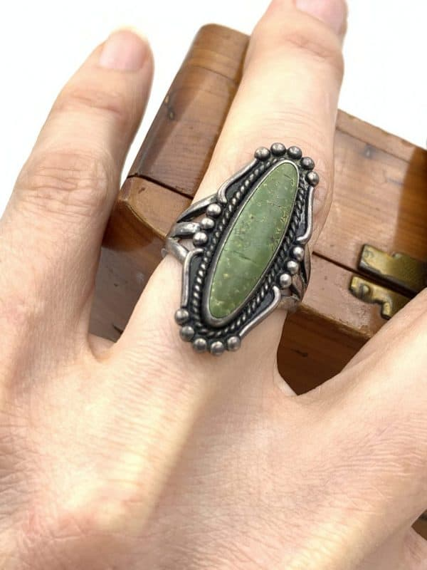 Vintage Green Turquoise Ring Sterling Silver Size 7 for sale