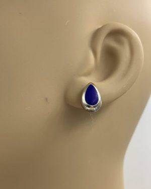 Sterling Silver Lapis Teardrop Post Earrings Mexico