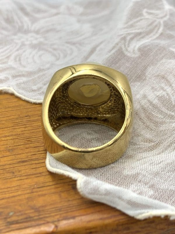 13mm Faux Pearl Ring 18kt Yellow Gold Over Sterling Size 7 for sale
