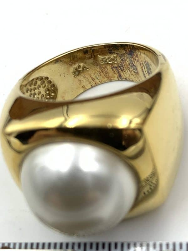 13mm Faux Pearl Ring 18kt Yellow Gold Over Sterling Size 7 purity mark