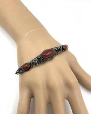 German Art Deco Sterling Silver Carnelian Bracelet
